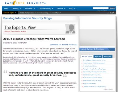 2011 Biggest Breaches - What We've Learned
