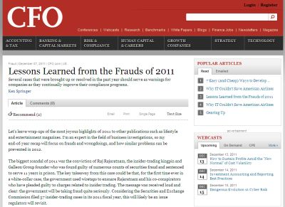 Lessons Learned from the Frauds of 2011