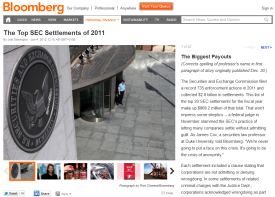 Bloomberg: The Top SEC Settlements of 2011